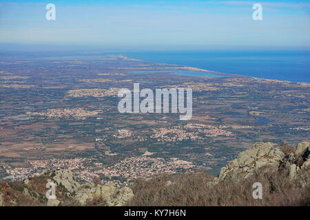 France the Roussillon plain on the shore of the Mediterranean sea, Pyrenees Orientales, landscape from the heights - Stock Photo