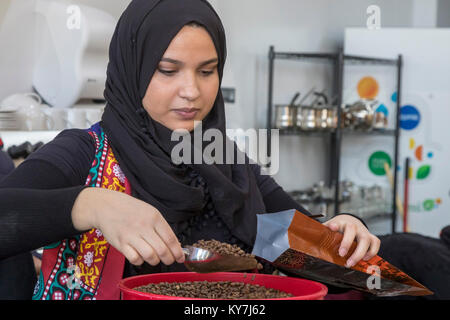 Dearborn, Michigan - A coffee shop called Qahwah House, which imports and serves coffee exclusively from Yemen. - Stock Photo