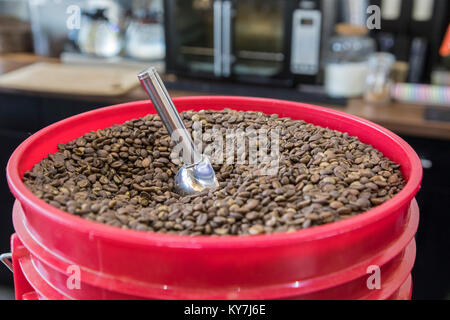 Dearborn, Michigan - A bucket of coffee beans at a coffee shop called Qahwah House, which imports and serves coffee - Stock Photo