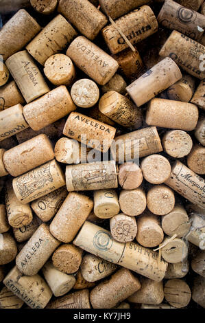 collection of wine bottle corks of assorted shapes and sizes. - Stock Photo