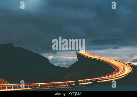 Atlantic road night in Norway Storseisundet bridge transportation way to sky scandinavian travel landmarks - Stock Photo