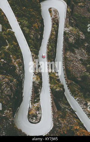 Trollstigen road in Norway serpentine scandinavian travel landmarks aerial view - Stock Photo