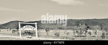 Clairview sign, Farmland and bush near Clairview, Queensland, Australia - Stock Photo