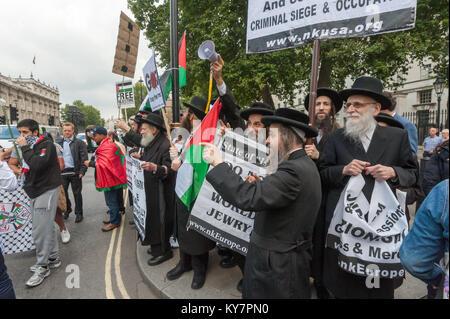 Neturei Karta anti-Zionist Jews at the pro-Palestine protest against the visit of Israeli PM Netanyahu, accused - Stock Photo