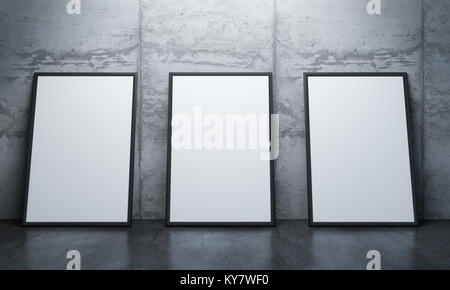 Modern concrete gallery room with directional spotlight and frames ...