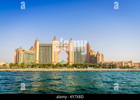 Dubai, UAE, March 31, 2017: seaside view of Atlantis Palm Dubai luxury hotel and resort - Stock Photo
