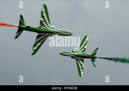 The Saudi Hawks are a BAE Hawk jet plane equipped Royal Saudi Air Force aerobatic team. Visiting the UK. Air display - Stock Photo