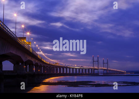 Night view of the Severn bridge which spans from England to Wales in the British Isles - Stock Photo
