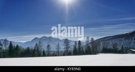 Winter mountain landscape with blue sky in sunny day - panoramic view. Tirol, Alps, Austria. - Stock Photo