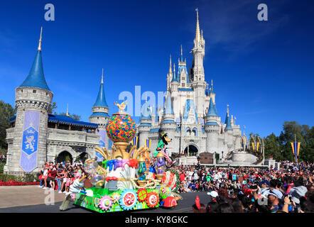 Christmas Parade in Magic Kingdom, Orlando, Florida - Stock Photo