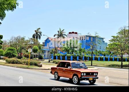 HAVANA, CUBA, MAY 11, 2009. An old blue house in the Minamar district in Havana, Cuba, May 11th, 2009. A Russian - Stock Photo