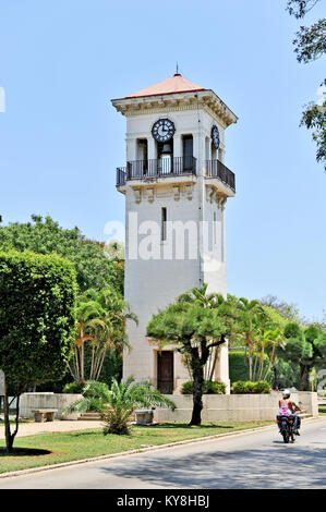HAVANA, CUBA, MAY 11, 2009. An old clock tower in the Minamar district in Havana, Cuba, May 11th, 2009. - Stock Photo
