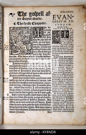 Title Page from the Gospel of Mark in William Tyndale's 1538 edition of the English New Testament, which showed - Stock Photo