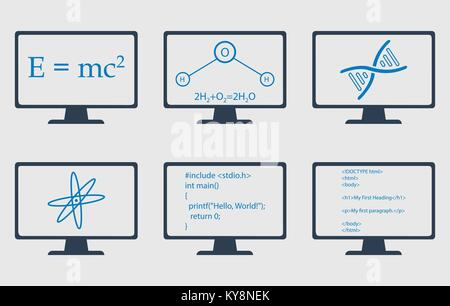 Different Subject Icon Set. Physics, Chemistry, Genetic Engineering and Computer Science symbols are on monitor - Stock Photo