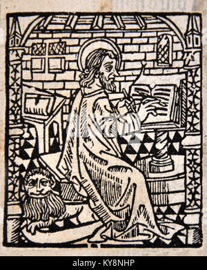 Illustration of a scribe from a Title Page in William Tyndale's 1538 edition of the English New Testament, which - Stock Photo