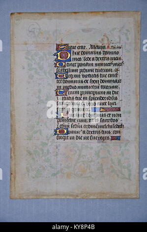 Page from a 15th Century Book of Hours, written in France on vellum. (Fragment 19) From the Reed Rare Books Collection - Stock Photo
