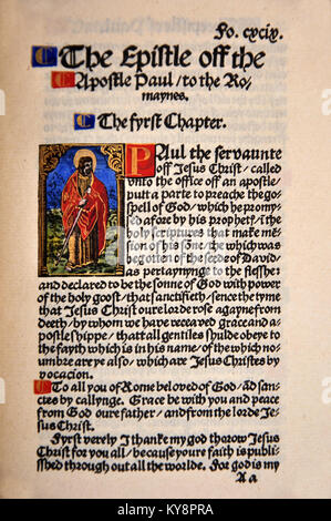 Title Page from the Book of Romans in a Facsimile of William Tyndale's 1525 edition of the English New Testament. - Stock Photo