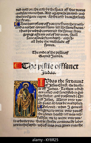 Title Page from the Book of Jude in a Facsimile of William Tyndale's 1525 edition of the English New Testament. - Stock Photo