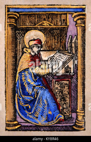 Illustration of a scribe from a Title Page in a Facsimile of William Tyndale's 1525 edition of the English New Testament. - Stock Photo