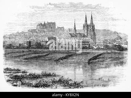 Engraving of the city of Marburg, a refuge for Bible Translator William Tyndale during the reign of Henry VIII. - Stock Photo