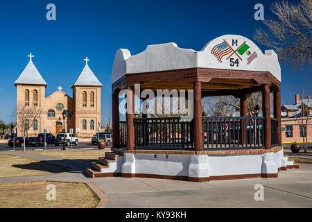 Bandstand, Basilica of San Albino in distance at Mesilla Plaza in town of Mesilla near Las Cruces, New Mexico, USA - Stock Photo