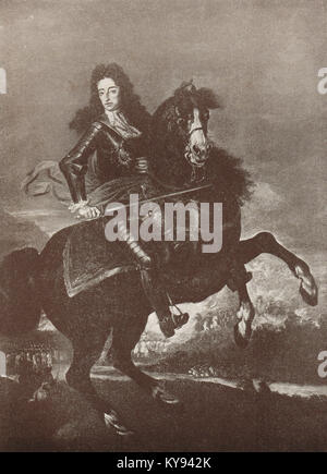 King William III of England on horseback at the Battle of the Boyne 1690 - Stock Photo