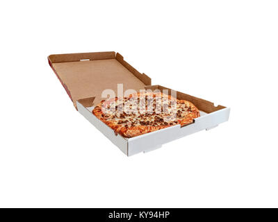 Pizza in a box on white background. - Stock Photo