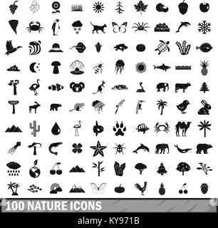 100 nature icons set in simple style for any design vector illustration - Stock Photo