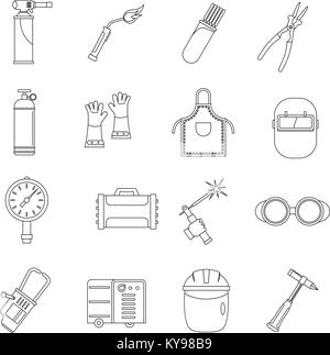 Welding icons set. Outline illustration of 16 welding vector icons for web - Stock Photo
