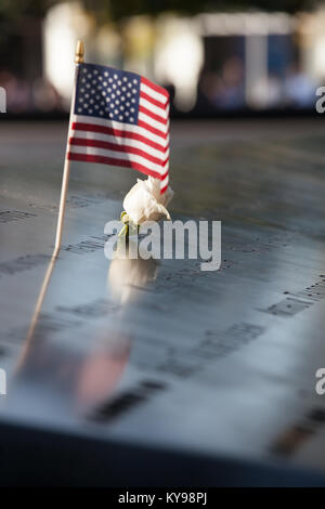 The National September 11 Memorial to the 3000 people killed in the 11 September 2001 attacks on the World Trade - Stock Photo