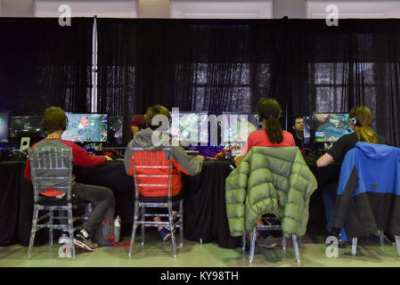Video gaming convention, Bonsecours market Montreal - Stock Photo