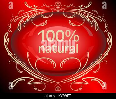 Abstrct red label 100% natural - Stock Photo