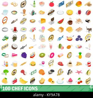 100 chef icons set in isometric 3d style for any design vector illustration - Stock Photo
