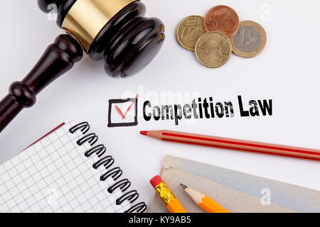 Competition law. Questionnaire with red cross on the white paper - Stock Photo