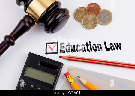 Education law. Questionnaire with red cross on the white paper - Stock Photo