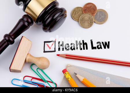 health law. Questionnaire with red cross on the white paper - Stock Photo