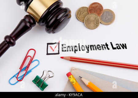Employment Law. Questionnaire with red cross on the white paper - Stock Photo