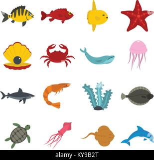 Sea animals icons set in flat style isolated vector illustration - Stock Photo