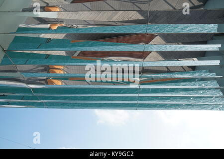 looking up at reflections in glass surface