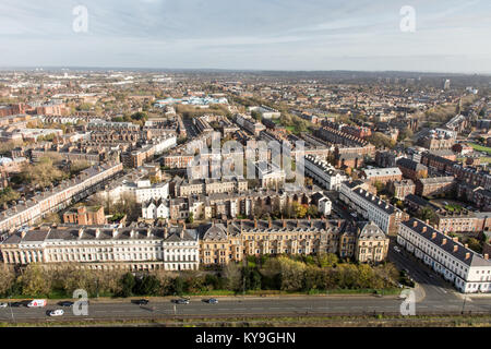 Liverpool, England, UK - November 9, 2017:  Terraces of houses line wide streets in Liverpool's Georgian Quarter - Stock Photo