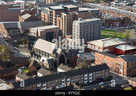 Liverpool, England, UK - November 9, 2017: St Vincent's Church stands amongst mid-20th century blocks of flats and - Stock Photo
