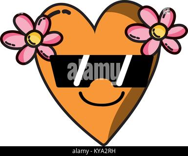 smile heart with flowers kawaii with sunglasses - Stock Photo