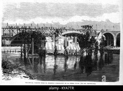 Valladolid, puente sobre el Pisuerga, colocación de la piedra clave, en El Museo Universal - Stock Photo