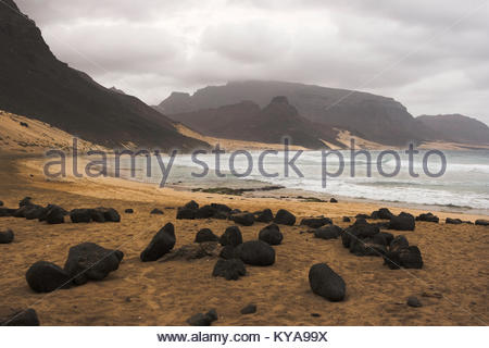 Stones on the sand a Calhau beach, Cape Verde - Stock Photo