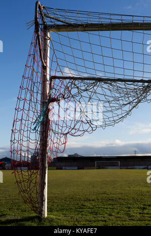 One of the goal nets at Wincham Park, home of Witton Albion before their Northern Premier League premier division - Stock Photo