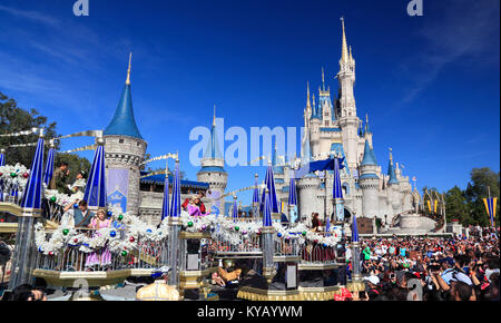 Christmas Parade in Magic Kingdom, Orlando, Florida - Stock Photo