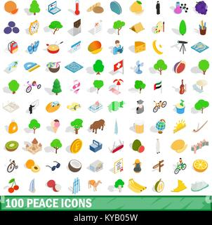 100 peace icons set in isometric 3d style for any design vector illustration - Stock Photo