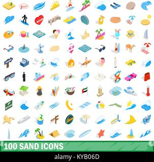 100 sand icons set in isometric 3d style for any design vector illustration - Stock Photo