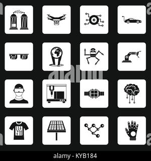 New technologies icons set in white squares on black background simple style vector illustration - Stock Photo