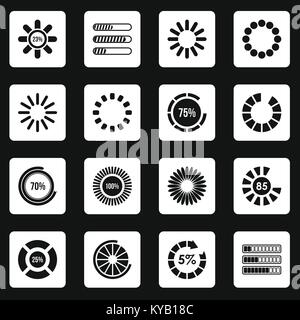 Loading bars and preloaders icons set in white squares on black background simple style vector illustration - Stock Photo